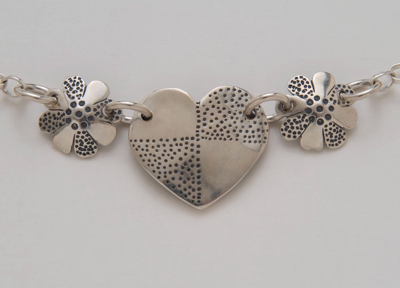 Three-piece Heart and Flower Necklace