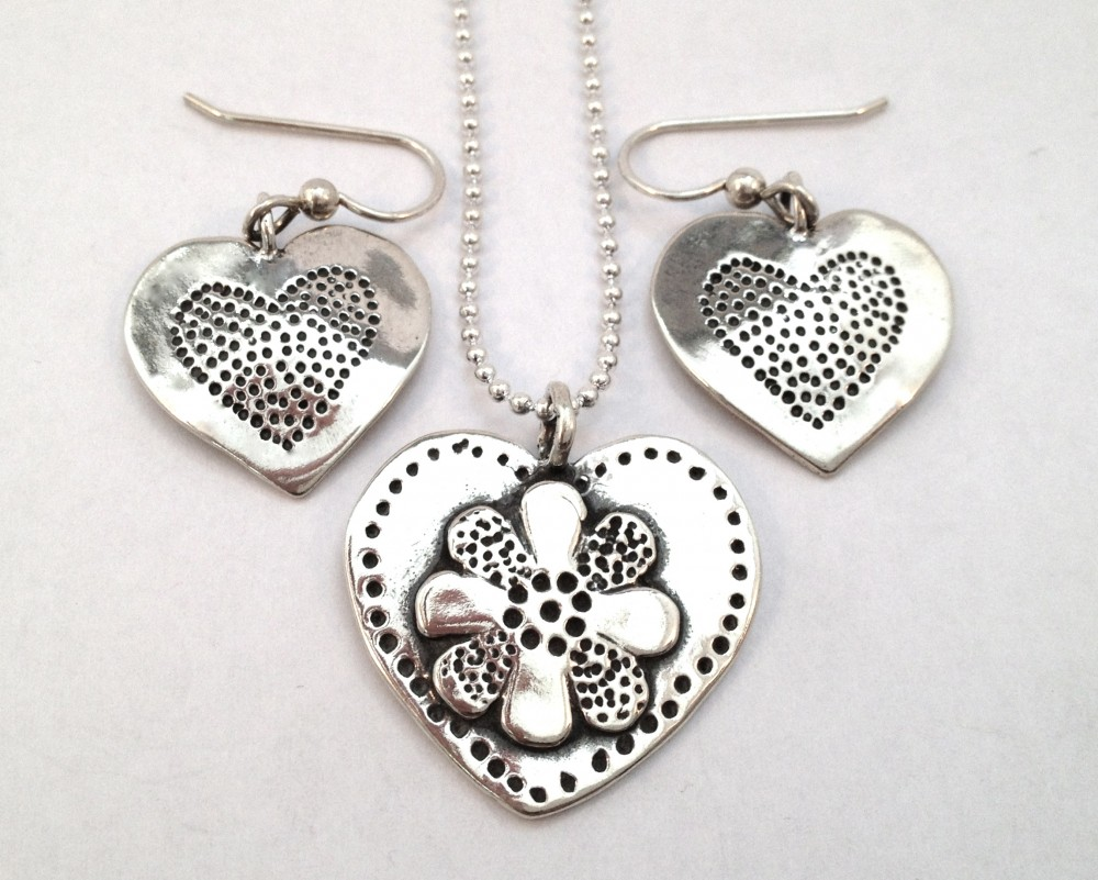 Heart in Heart Half Pendant (Large)